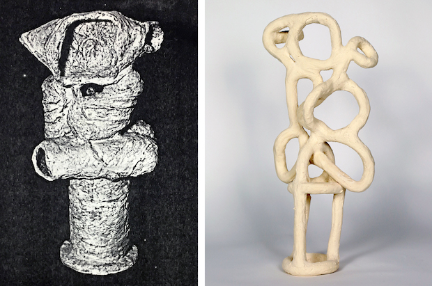 Kari Marboe, Dead Ringer: Duplicating Daniel Series, 2018, Photocopy of missing Daniel Rhodes sculpture, BMix with nylon fiber (fired). Ceramic sketch of the original Daniel Rhodes sculpture.