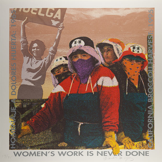 Women's Work Is Never Done, Yolanda M. Lopez, 1995. Silkscreen on paper