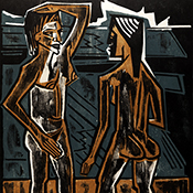 Max Pechstein, Two Nudes, 1920, Color woodcut print.