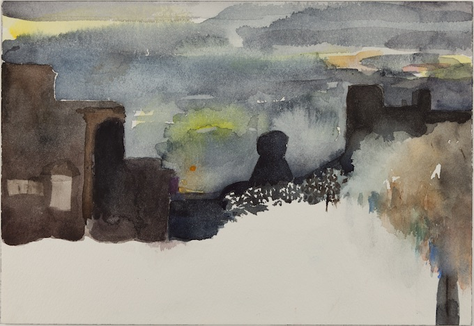 Nell Sinton, Sunset and Snow, Urbana, 1978, Pochoir on paper.
