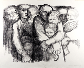 Kathe Kollwitz, Women and Children, 1919, Lithograph. Collection Mills College Art Museum, Museum Purchase, Susan L. Mills Fund, 1939.84