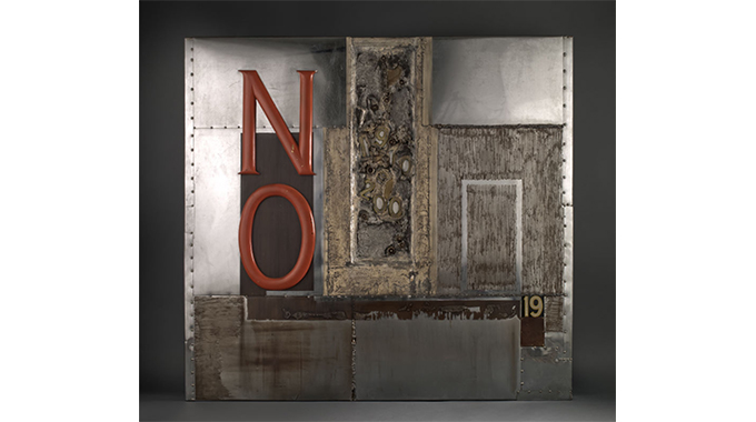 John Wilfred Outterbridge, No Time For Jiving, 1969, Mixed media metal collage 56 in. x 60 in. (142.24 cm x 152.4 cm)