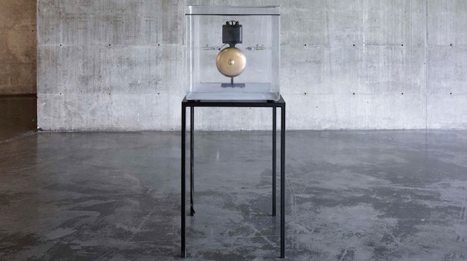 Zarouhie Abdalian, As a demonstration, 2013. Acrylic vacuum chamber, electric bell, and steel. 22 x 25 x 58 in